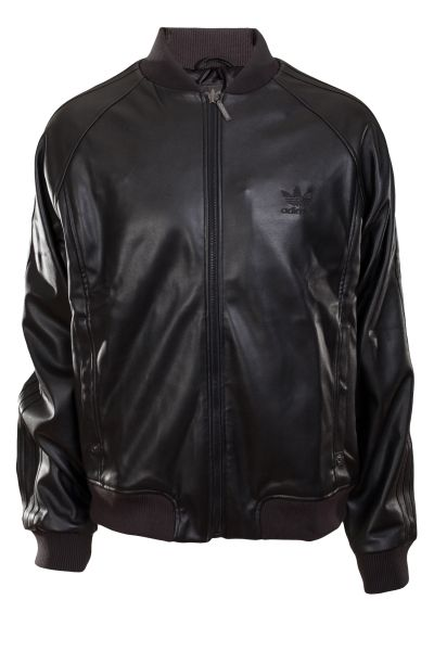 Adidas Mens Black Leather Jacket