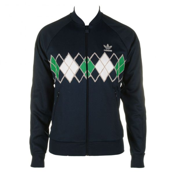 Mens Adidas Argyle Navy Track Jacket