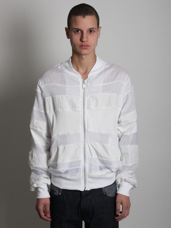 Christopher Shannon White Bomber Jacket Patchwork Stripe