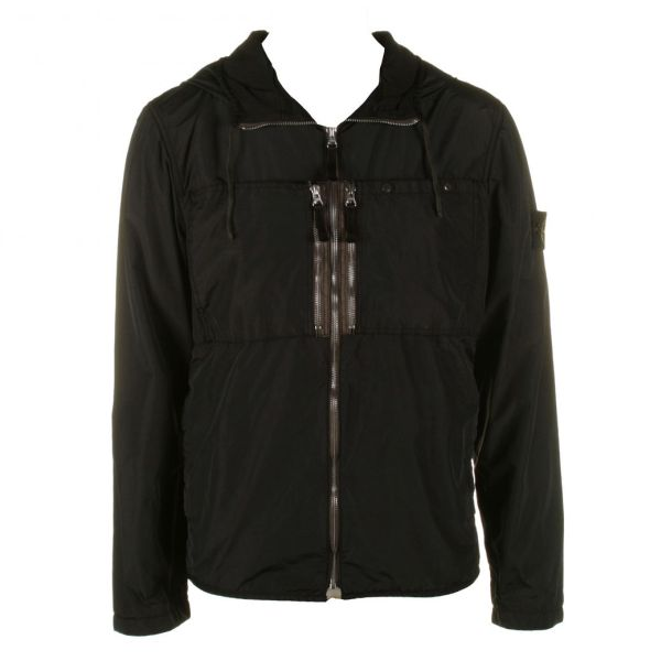 Mens Black Stone Island Hooded Jacket