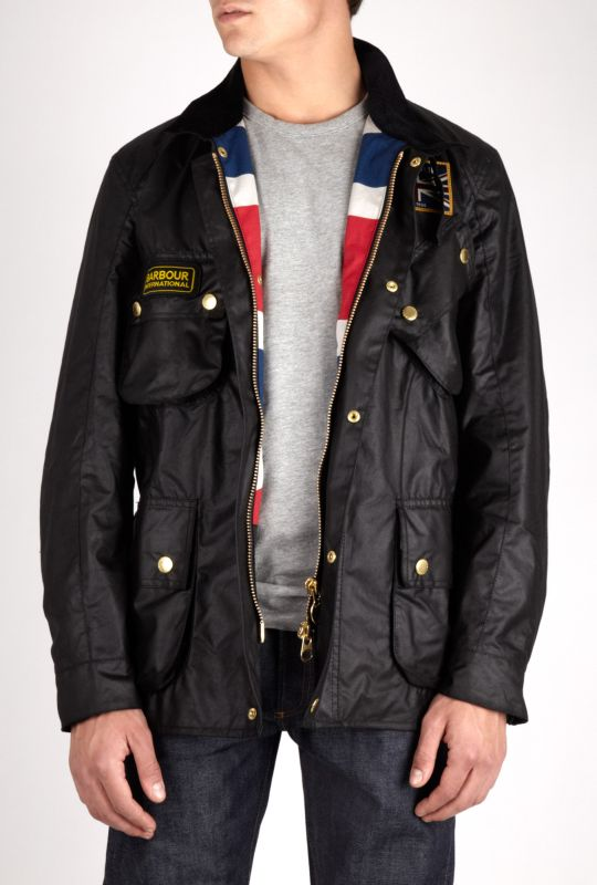 Mens Barbour Black Union Jack Jacket
