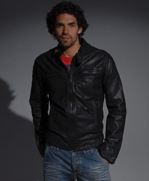 Superdry Black Leather Jacket Scrambler